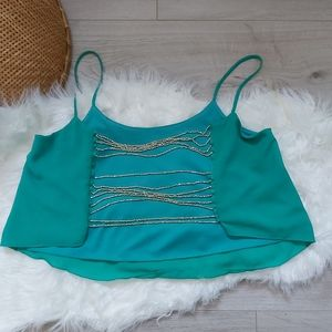 Seduction Teal Backless Beaded Top